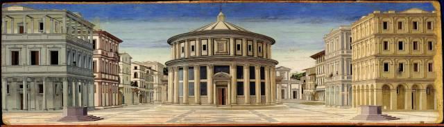 """""""La perspective géométrique est le système qui exprime le mieux la position centrale attribuée à l'homme par les humanistes de la Renaissance. Selon la pensée humaniste, l'homme est, en effet, à la mesure de toutes choses: l'espace devient donc mesurable par l'être humain. À ce titre, la perspective garantit un ordonnancement rationnel de l'espace, une subdivision symétrique des différentes parties de la composition et une vision claire des objets placés au premier plan. Dans la Cité idéale, le point de vue central et les lignes de fuite, qui convergent exactement sur la porte du temple, créent une dimension spatiale parfaite, suspendue dans le temps et dans l'histoire."""" (2)"""