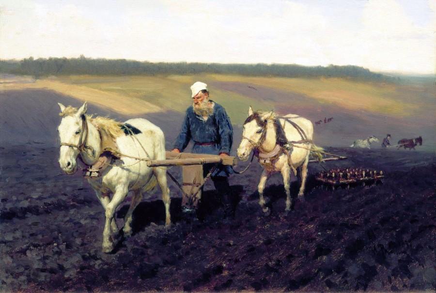 Tolstoï dans un champs de labour (Répine)